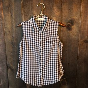 Vince Camuto Black White Gingham Sleeveless Top